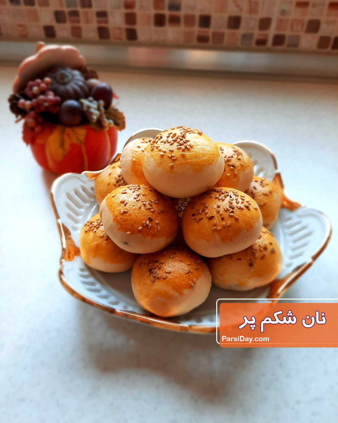 تصویر از طرز تهیه نان شکم پر خوشمزه با گوشت چرخ کرده و خمیر جادویی