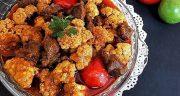 طرز تهیه خورش گل کلم خوشمزه و مجلسی با گوشت قرمز و مرغ
