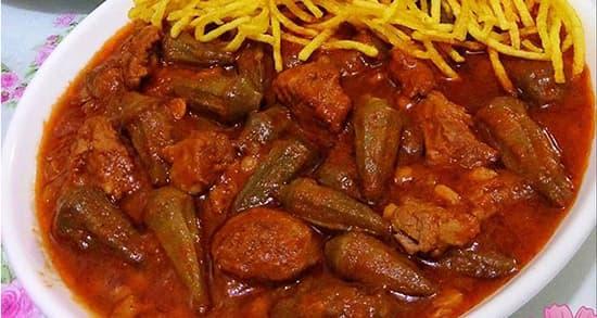 طرز تهیه خورش بامیه اصیل جنوبی خوشمزه و مجلسی با گوشت و مرغ