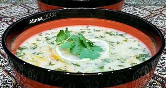 طرز تهیه سوپ گشنیز تبریز , دستور پخت سوپ گشنیز با دوغ , s, 'akdc , soup geshniz