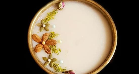 طرز تهیه حریره بادام , حریره بادام بدون شیر و آرد برنج , حریره بادام با نشاسته , pvdvi fhnhl