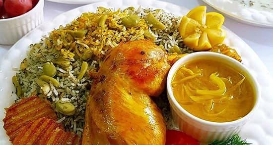 طرز تهیه باقالی پلو با مرغ زعفرانی مجلسی و خوشمزه رستورانی