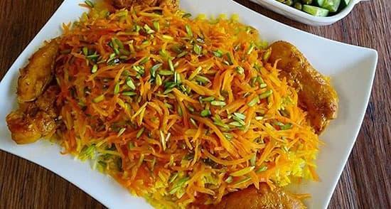 طرز تهیه شیرین پلو شیرازی خوشمزه و مجلسی رستورانی با مرغ