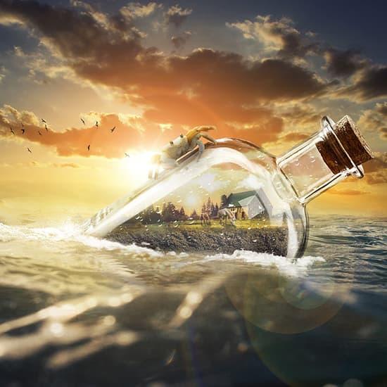 عکس پروفایل دریا , عکس پروفایل طبیعت , عکس پروفایل بطری در آب