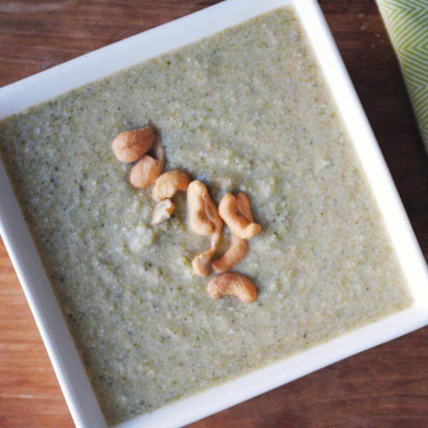 سوپ خامه ای بادام هندی و بروکلی