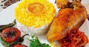 طرز تهیه چلو مرغ زعفرانی مجلسی و خوشمزه به روش رستورانی