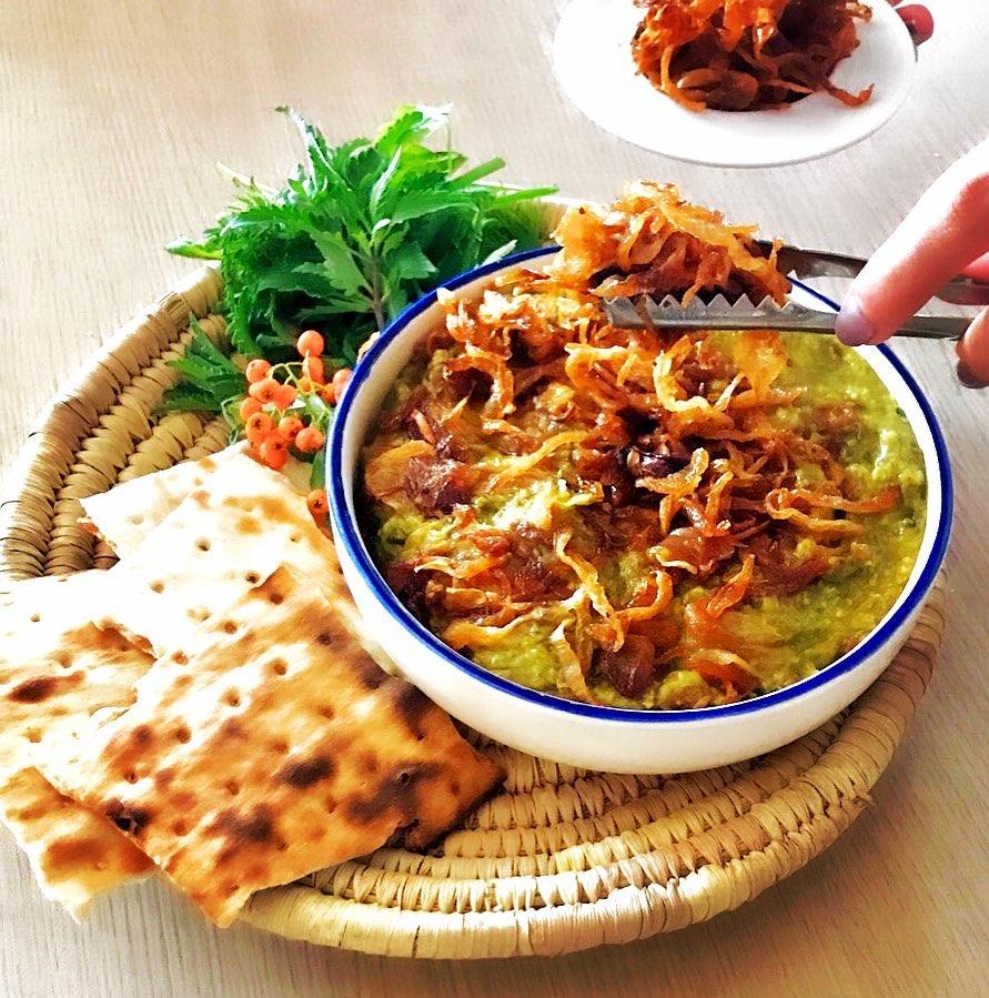 طرز تهیه آش سبزی شیرازی خوشمزه و مقوی با گوشت با دستور محلی