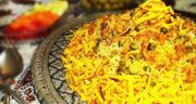 طرز تهیه کاری پلو شیرازی زعفرانی خوشمزه و مجلسی با مرغ