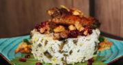 طرز تهیه تاک پلو خوشمزه و سنتی با مرغ مزه دار شده به روش سمنانی