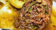 طرز تهیه ریندر رولادن آلمانی خوشمزه با گوشت و ژامبون و سیب زمینی