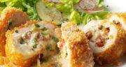 طرز تهیه مرغ مارپیچی سوخاری خوشمزه و ساده با پنیر و ژامبون