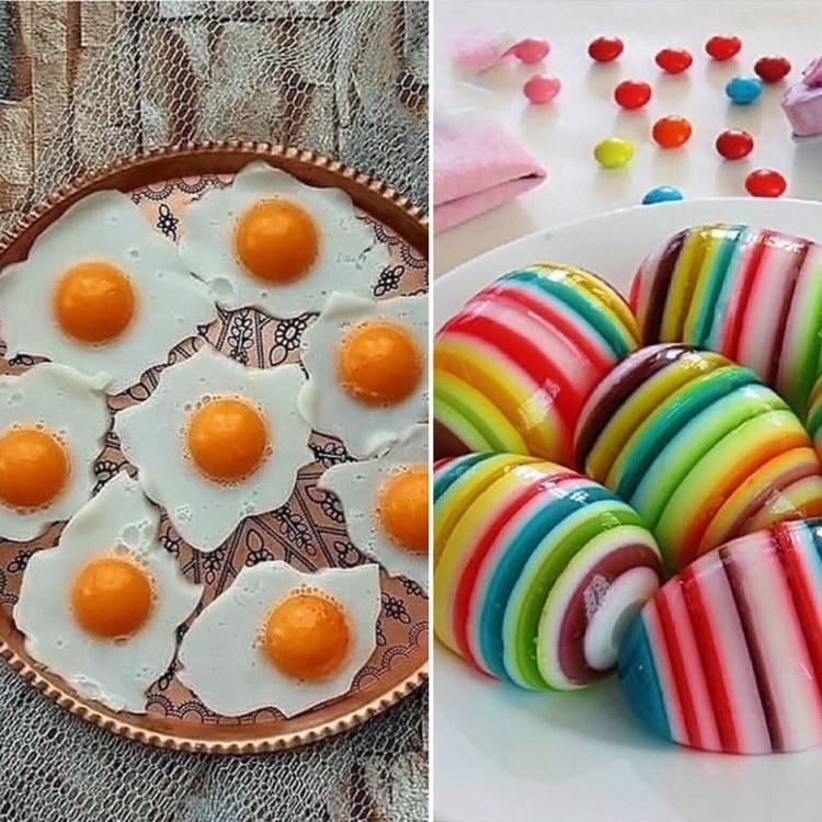 ژله تخم مرغی نیمرو و ژله تخم مرغی رنگارنگ