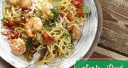 طرز تهیه اسپاگتی با میگو و قارچ بسیار خوشمزه همراه با سس قرمز