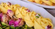 طرز تهیه شیرینی پنبه ای زعفرانی بسیار ساده و خوشمزه برای عید