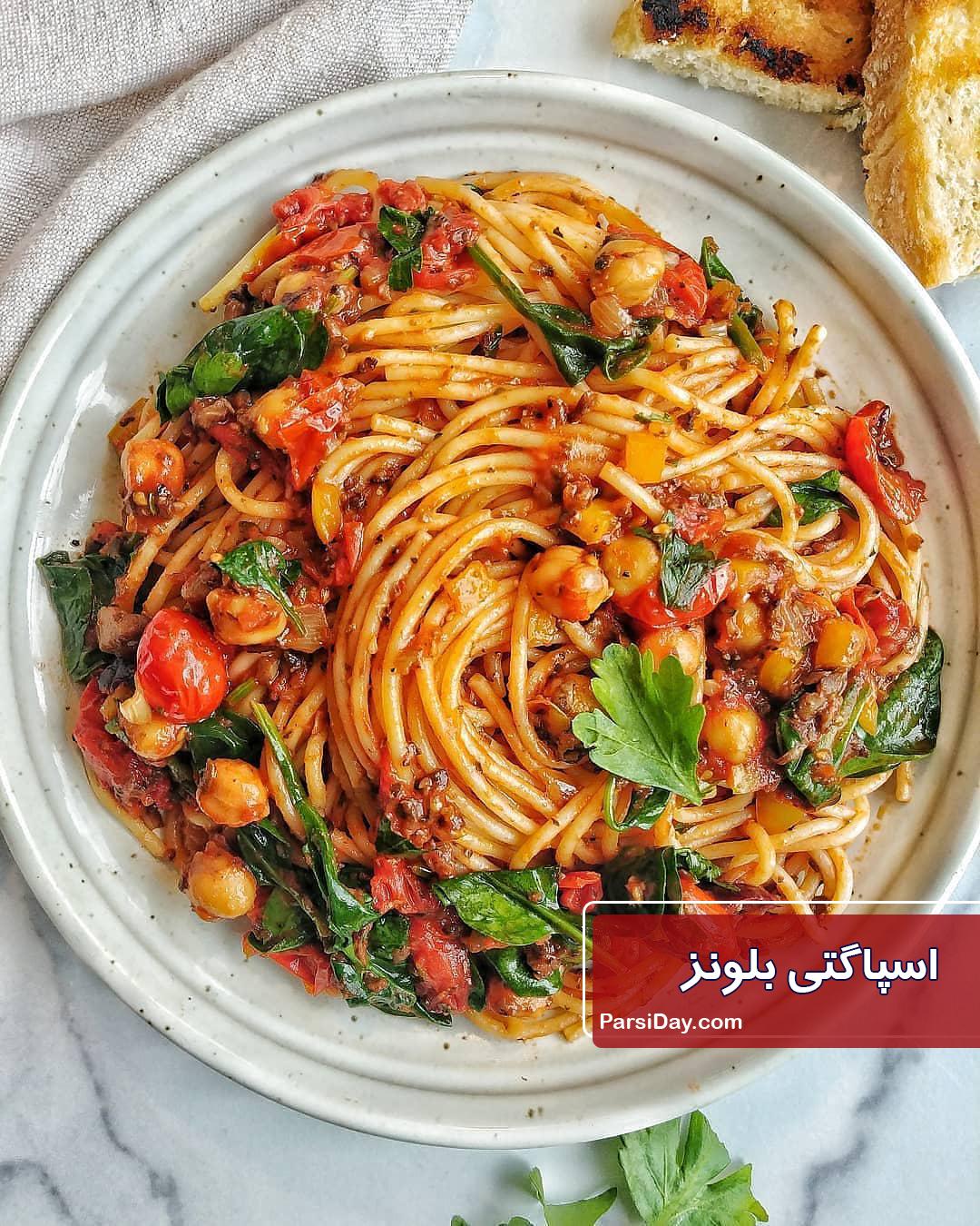 طرز تهیه اسپاگتی بلونز ایتالیایی بسیار خوشمزه با گوشت چرخ کرده