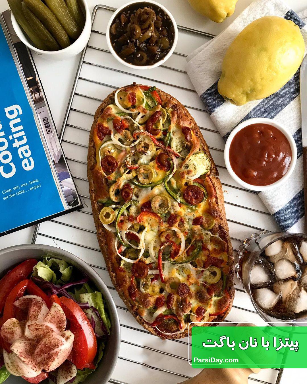 طرز تهیه پیتزا با نان باگت خوشمزه و مخصوص با گوشت و قارچ