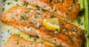 طرز تهیه ماهی سالمون با زعفران خوشمزه و رستورانی کبابی و در فر