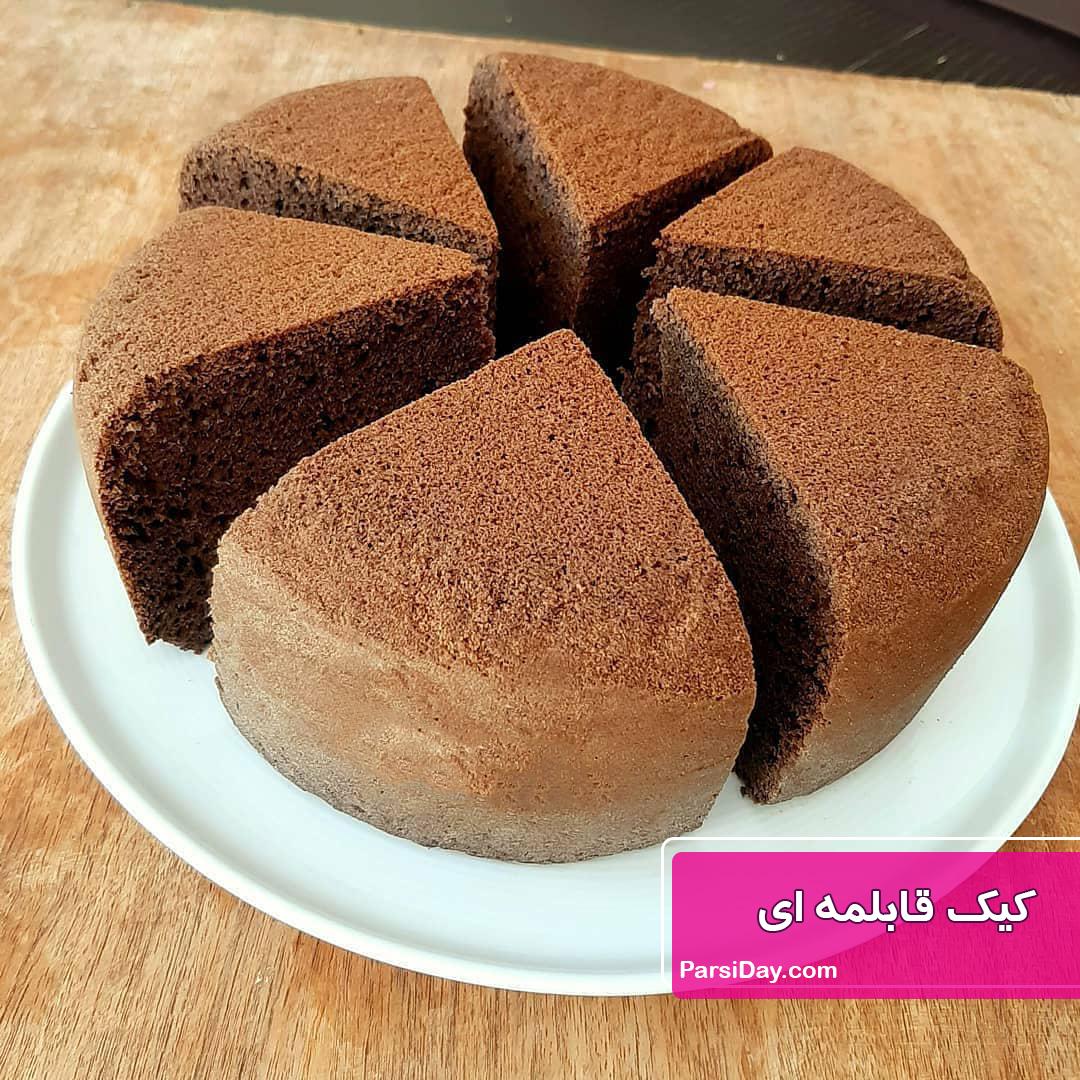 طرز تهیه کیک قابلمه ای شکلاتی اسفنجی ساده و خوشمزه بدون فر