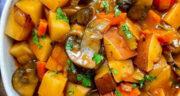 طرز تهیه تاس کباب بدون گوشت [گیاهی] خوشمزه و ساده با بادمجان