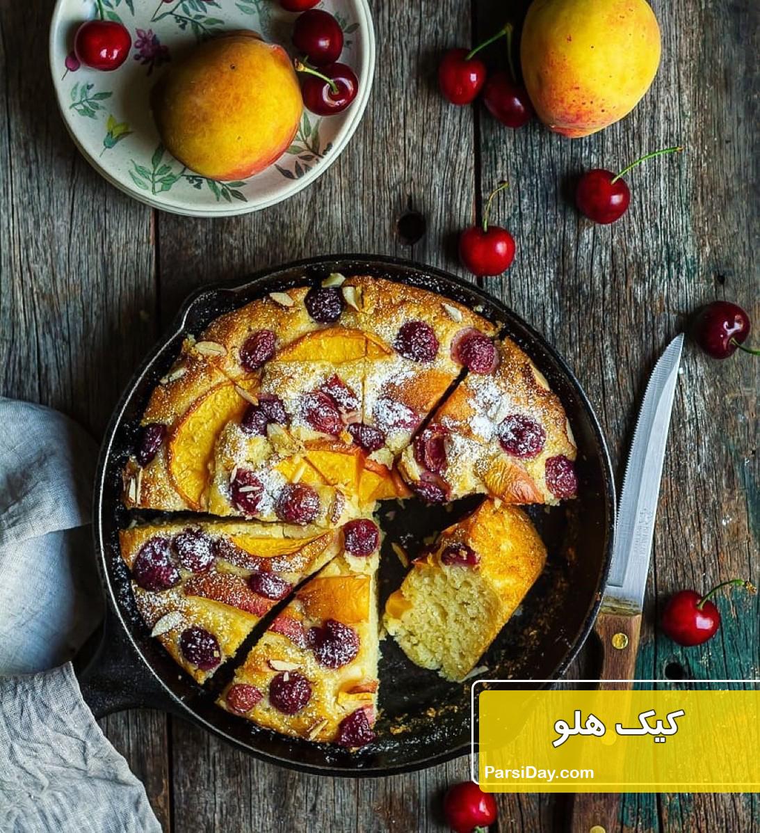طرز تهیه کیک هلو ساده و خوشمزه با ماست و کره در فر