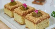 طرز تهیه کیک شنی خوشمزه و آسان با شیر عسلی و پودر نارگیل
