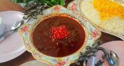 طرز تهیه خورش سیر انار مازندرانی ساده، خوشمزه و محلی با مرغ