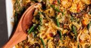 طرز تهیه کاسرول لوبیا سبز و قارچ خوشمزه و آسان و بدون گوشت