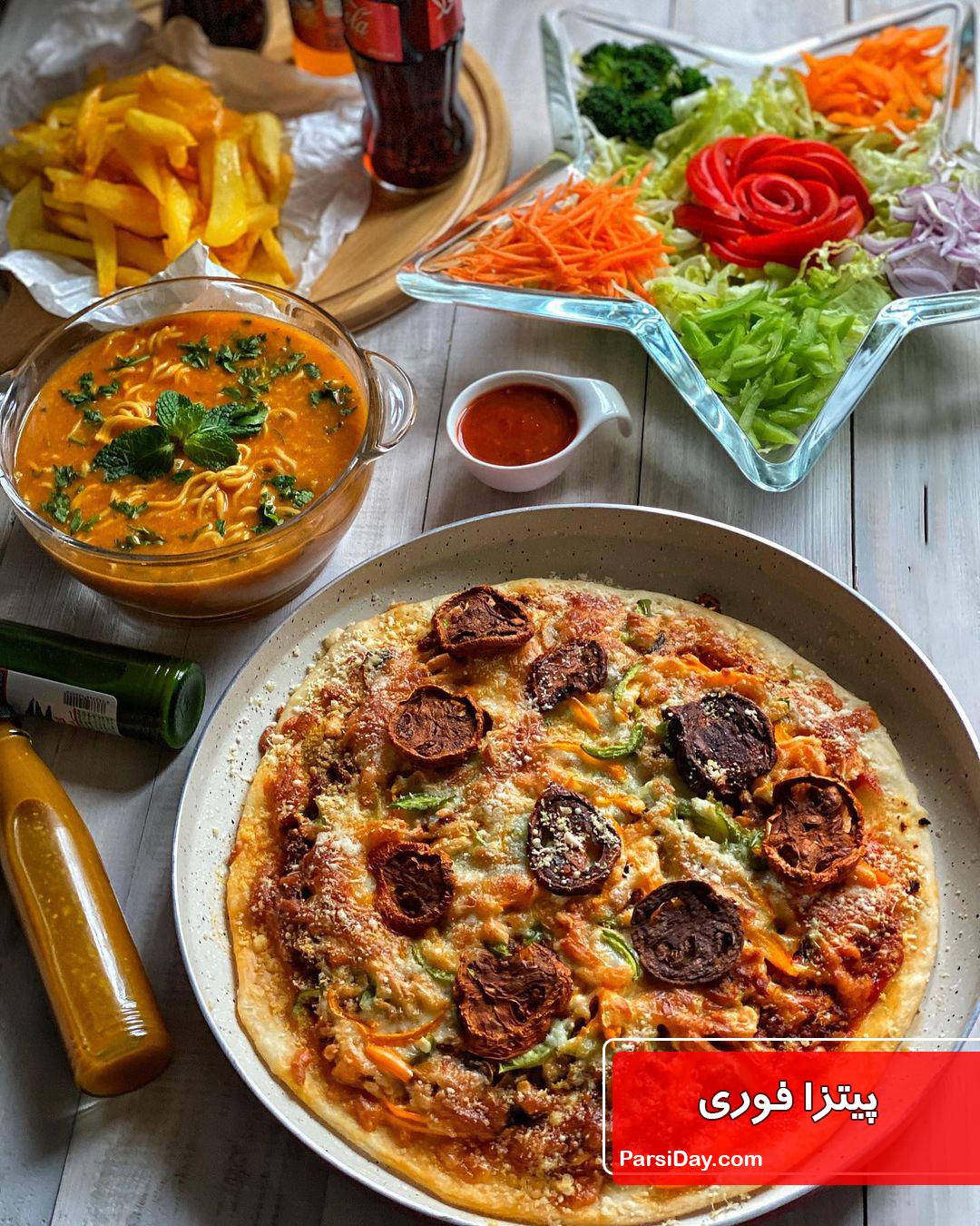 طرز تهیه پیتزا فوری