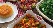 طرز تهیه خوراک کدو سبز و سیب زمینی و هویج رژیمی بدون گوشت