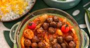 طرز تهیه خورش گوشت و قارچ ساده و سریع و مجلسی با رب گوجه