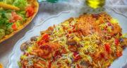 طرز تهیه پلوی مخلوط ساده، خوشمزه و مجلسی با مرغ و سبزیجات