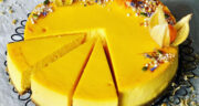 طرز تهیه چیز کیک زعفرانی عالی و مجلسی با پایه کیک شکلاتی