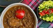 طرز تهیه خورش سبزی فسنجان شمالی با مرغ و سبزی معطر