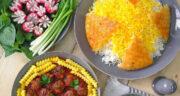 طرز تهیه سلطان پلو ساده و خوشمزه با گوشت قلقلی و سیب زمینی
